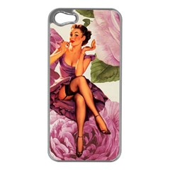 Cute Purple Dress Pin Up Girl Pink Rose Floral Art Apple Iphone 5 Case (silver) by chicelegantboutique