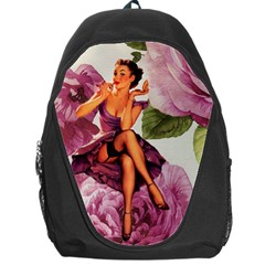 Cute Purple Dress Pin Up Girl Pink Rose Floral Art Backpack Bag by chicelegantboutique