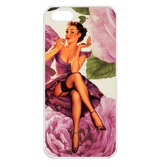 Cute Purple Dress Pin Up Girl Pink Rose Floral Art Apple Iphone 5 Seamless Case (white) by chicelegantboutique
