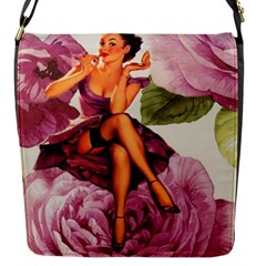 Cute Purple Dress Pin Up Girl Pink Rose Floral Art Flap Closure Messenger Bag (small) by chicelegantboutique