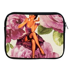 Cute Purple Dress Pin Up Girl Pink Rose Floral Art Apple Ipad 2/3/4 Zipper Case by chicelegantboutique