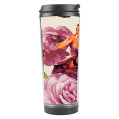 Cute Purple Dress Pin Up Girl Pink Rose Floral Art Travel Tumbler by chicelegantboutique