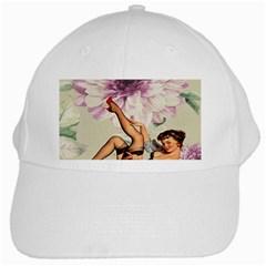Gil Elvgren Pin Up Girl Purple Flower Fashion Art White Baseball Cap by chicelegantboutique