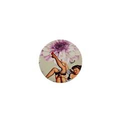 Gil Elvgren Pin Up Girl Purple Flower Fashion Art 1  Mini Button Magnet by chicelegantboutique