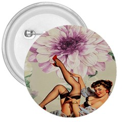 Gil Elvgren Pin Up Girl Purple Flower Fashion Art 3  Button by chicelegantboutique