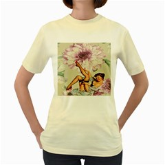 Gil Elvgren Pin Up Girl Purple Flower Fashion Art  Womens  T Shirt (yellow) by chicelegantboutique