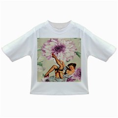 Gil Elvgren Pin Up Girl Purple Flower Fashion Art Baby T Shirt by chicelegantboutique