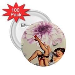 Gil Elvgren Pin Up Girl Purple Flower Fashion Art 2 25  Button (100 Pack) by chicelegantboutique