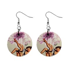 Gil Elvgren Pin Up Girl Purple Flower Fashion Art Mini Button Earrings by chicelegantboutique
