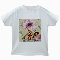 Gil Elvgren Pin Up Girl Purple Flower Fashion Art Kids' T Shirt (white) by chicelegantboutique