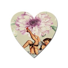 Gil Elvgren Pin Up Girl Purple Flower Fashion Art Magnet (heart) by chicelegantboutique