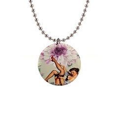 Gil Elvgren Pin Up Girl Purple Flower Fashion Art Button Necklace