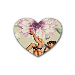 Gil Elvgren Pin Up Girl Purple Flower Fashion Art Drink Coasters (heart) by chicelegantboutique