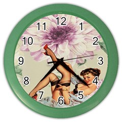 Gil Elvgren Pin Up Girl Purple Flower Fashion Art Wall Clock (color) by chicelegantboutique
