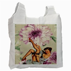 Gil Elvgren Pin Up Girl Purple Flower Fashion Art Recycle Bag (one Side) by chicelegantboutique