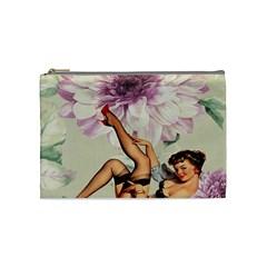 Gil Elvgren Pin Up Girl Purple Flower Fashion Art Cosmetic Bag (medium) by chicelegantboutique