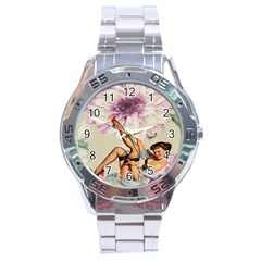Gil Elvgren Pin Up Girl Purple Flower Fashion Art Stainless Steel Watch (men s) by chicelegantboutique