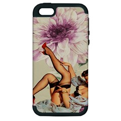 Gil Elvgren Pin Up Girl Purple Flower Fashion Art Apple Iphone 5 Hardshell Case (pc+silicone) by chicelegantboutique