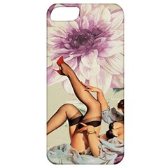 Gil Elvgren Pin Up Girl Purple Flower Fashion Art Apple Iphone 5 Classic Hardshell Case by chicelegantboutique