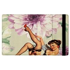 Gil Elvgren Pin Up Girl Purple Flower Fashion Art Apple Ipad 3/4 Flip Case by chicelegantboutique