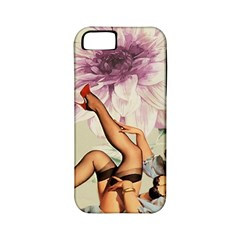 Gil Elvgren Pin Up Girl Purple Flower Fashion Art Apple Iphone 5 Classic Hardshell Case (pc+silicone) by chicelegantboutique