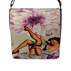 Gil Elvgren Pin Up Girl Purple Flower Fashion Art Flap Closure Messenger Bag (large) by chicelegantboutique