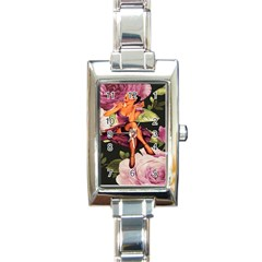 Cute Gil Elvgren Purple Dress Pin Up Girl Pink Rose Floral Art Rectangular Italian Charm Watch by chicelegantboutique