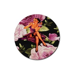 Cute Gil Elvgren Purple Dress Pin Up Girl Pink Rose Floral Art Drink Coasters 4 Pack (round) by chicelegantboutique