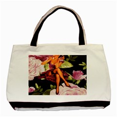 Cute Gil Elvgren Purple Dress Pin Up Girl Pink Rose Floral Art Classic Tote Bag by chicelegantboutique
