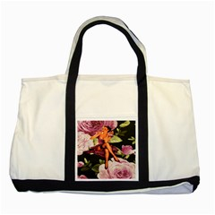 Cute Gil Elvgren Purple Dress Pin Up Girl Pink Rose Floral Art Two Toned Tote Bag by chicelegantboutique