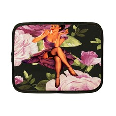 Cute Gil Elvgren Purple Dress Pin Up Girl Pink Rose Floral Art Netbook Case (small) by chicelegantboutique