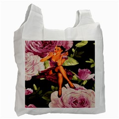 Cute Gil Elvgren Purple Dress Pin Up Girl Pink Rose Floral Art Recycle Bag (two Sides) by chicelegantboutique
