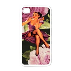 Cute Gil Elvgren Purple Dress Pin Up Girl Pink Rose Floral Art Apple Iphone 4 Case (white) by chicelegantboutique