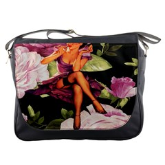 Cute Gil Elvgren Purple Dress Pin Up Girl Pink Rose Floral Art Messenger Bag by chicelegantboutique