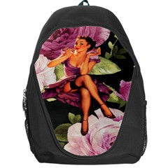 Cute Gil Elvgren Purple Dress Pin Up Girl Pink Rose Floral Art Backpack Bag by chicelegantboutique