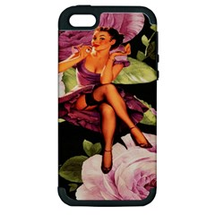Cute Gil Elvgren Purple Dress Pin Up Girl Pink Rose Floral Art Apple Iphone 5 Hardshell Case (pc+silicone) by chicelegantboutique