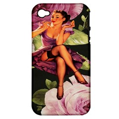 Cute Gil Elvgren Purple Dress Pin Up Girl Pink Rose Floral Art Apple Iphone 4/4s Hardshell Case (pc+silicone) by chicelegantboutique