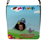 Butterfly Flap Closure Messenger Bag - Flap Closure Messenger Bag (Large)