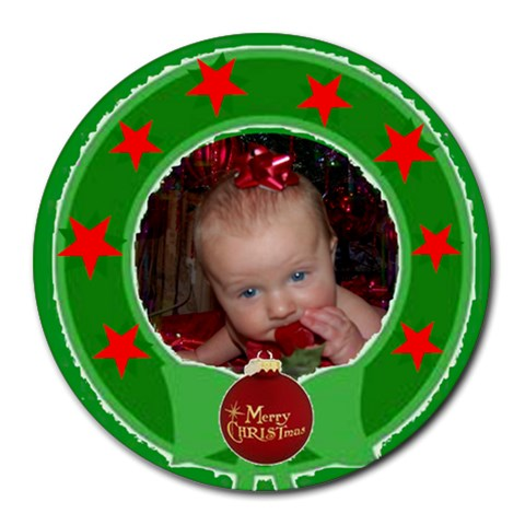 Wreath Round Mousepad #2 By Joy Johns   Round Mousepad   57nyqxhxam83   Www Artscow Com Front