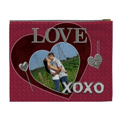 Love And Kisses Xl Cosmetic Bag By Lil    Cosmetic Bag (xl)   P6cmog3kvl5y   Www Artscow Com Back
