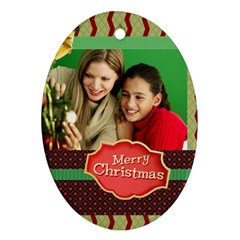 Merry Christmas By Merry Christmas   Oval Ornament (two Sides)   Luqo5aumjb10   Www Artscow Com Back