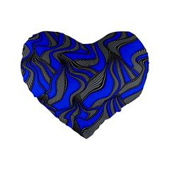 Foolish Movements Blue 16  Premium Heart Shape Cushion  by ImpressiveMoments