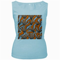 Foolish Movements Swirl Orange Womens  Tank Top (baby Blue) by ImpressiveMoments
