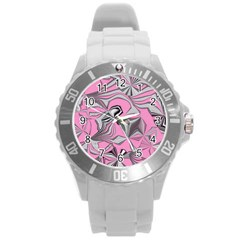 Foolish Movements Pink Effect Jpg Plastic Sport Watch (large)