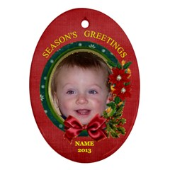 Greetings Oval Ornament, 2 Sides By Joy Johns   Oval Ornament (two Sides)   U2xc4r8ldj51   Www Artscow Com Back