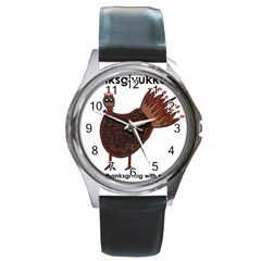 Turkey Round Metal Watch (Silver Rim) by Thanksgivukkah