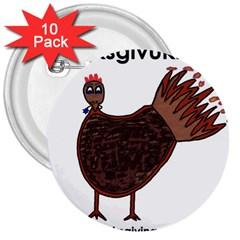 Turkey 3  Button (10 Pack) by Thanksgivukkah