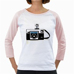 Kodak (3)c Womens  Long Sleeve Raglan T-shirt (White) by KellyHazel