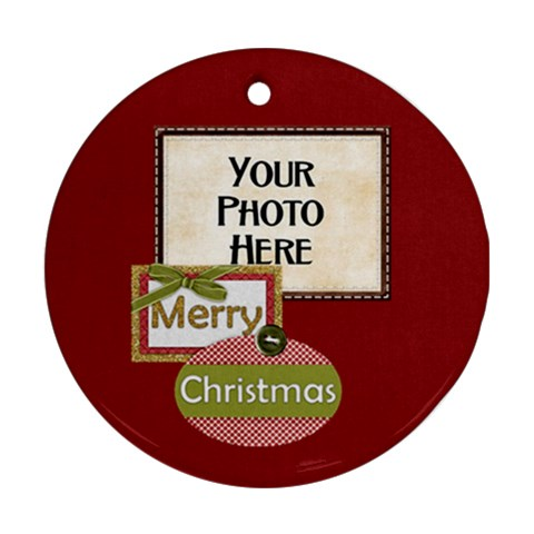Peace Joy Love Round Ornament 2 By Lisa Minor   Ornament (round)   D7mmifrcnhqp   Www Artscow Com Front