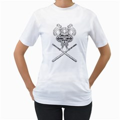 TEAM SAMURAI Womens  T-shirt (White) by ROBVDESIGNS